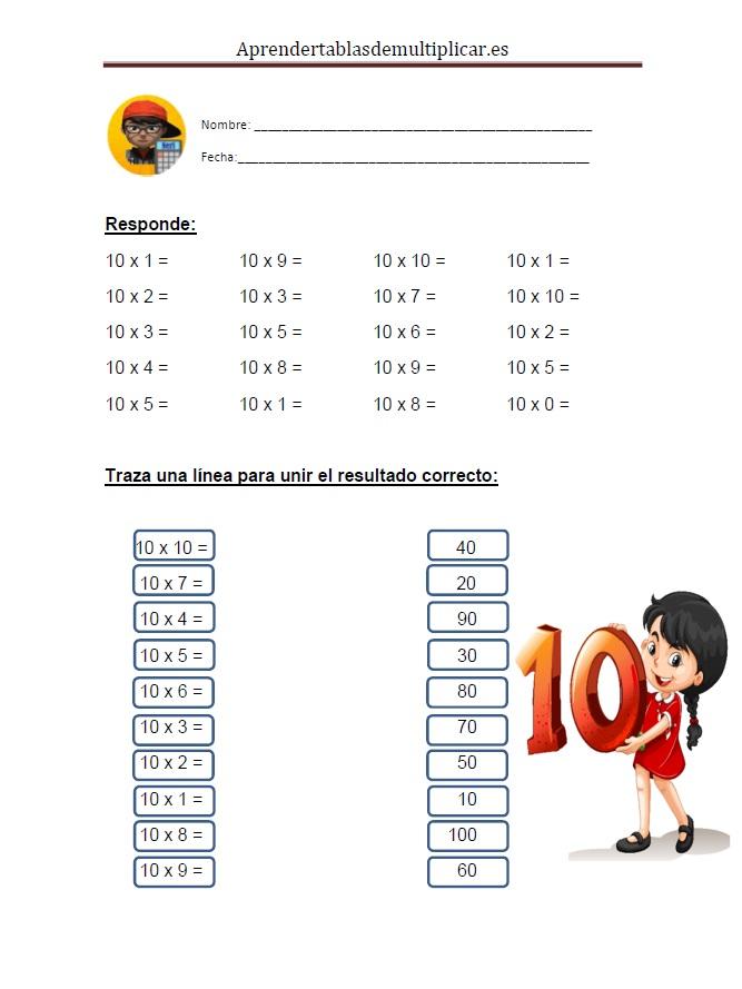 Imprimir tablas de multiplicar del 10 en PDF