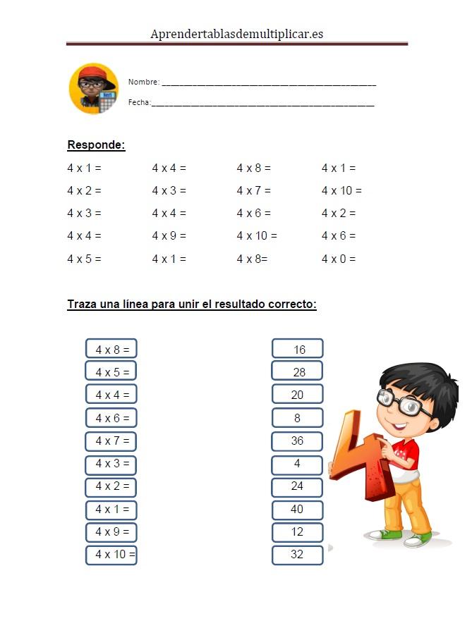 Imprimir tablas de multiplicar del 4 en PDF