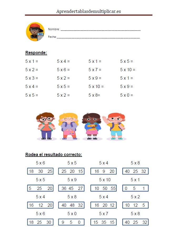 Imprimir tablas de multiplicar del 5 en PDF