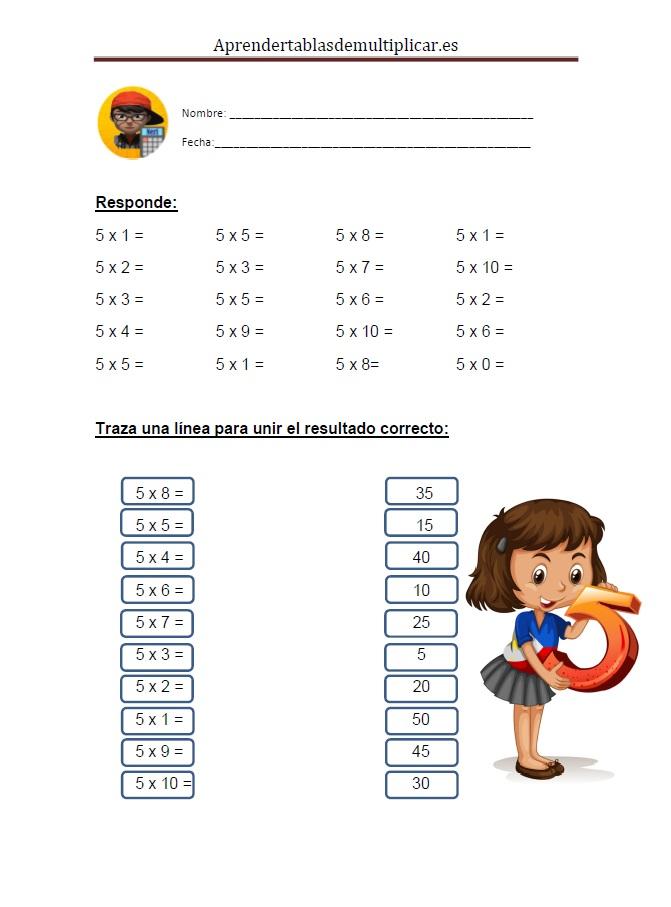 Imprimir tablas de multiplicar del 5