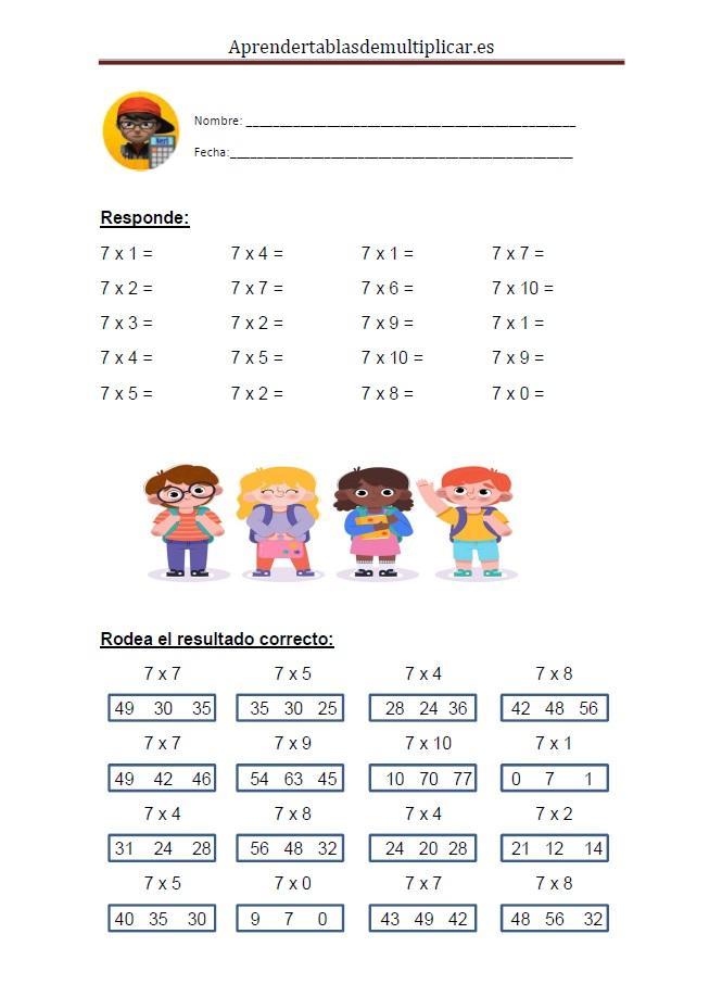 Imprimir tablas de multiplicar del 7