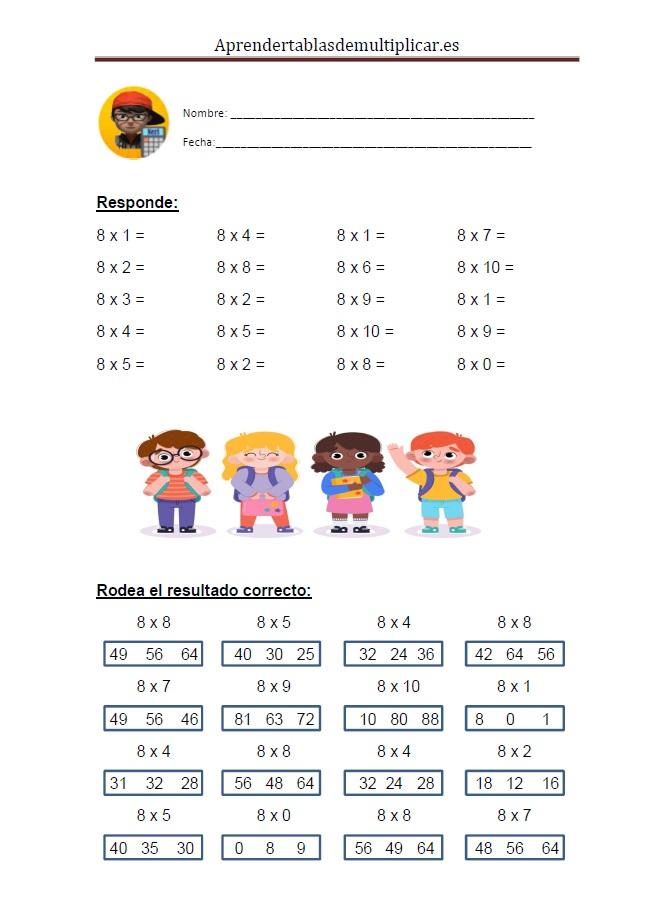 Imprimir tablas de multiplicar del 8