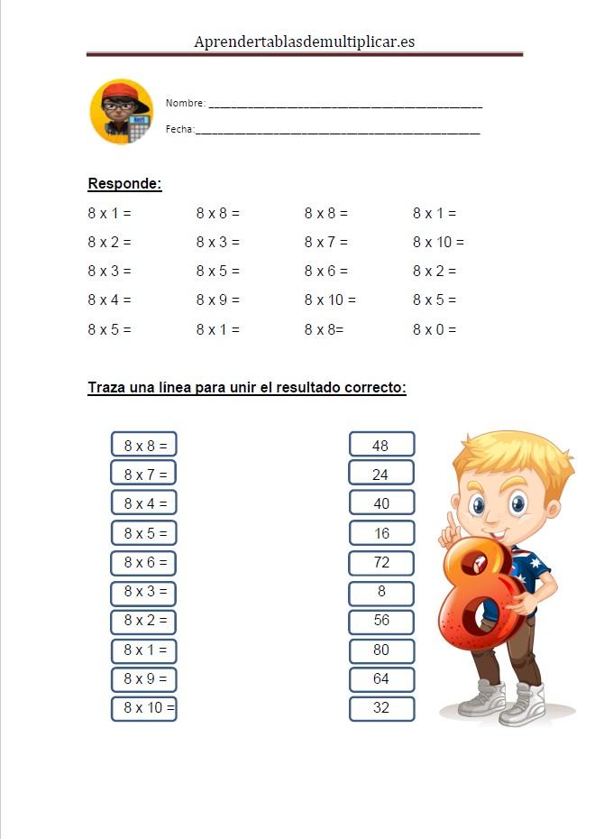 Imprimir tablas de multiplicar del 8 en PDF