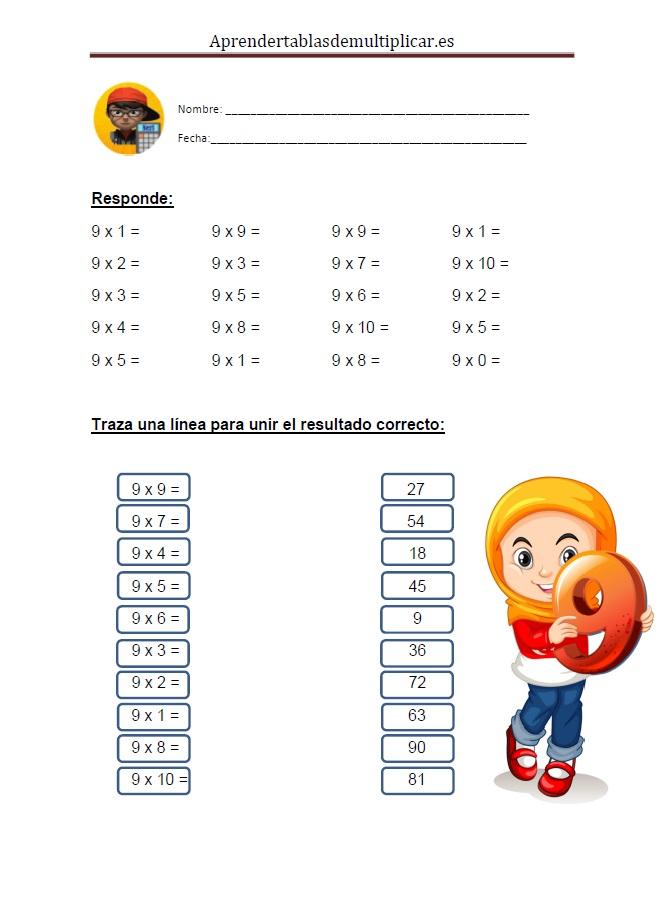 Imprimir tablas de multiplicar del 9 en PDF