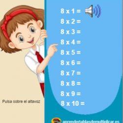ejercicios tablas de multiplicar del 8 con voz